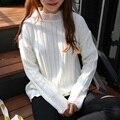Harajuku Mujeres Suéteres Y Jerseys 2016 Coreano Nuevo Otoño Invierno de La Vendimia Kawaii Blanco Calado de Encaje Suéter Suéter de Las Mujeres