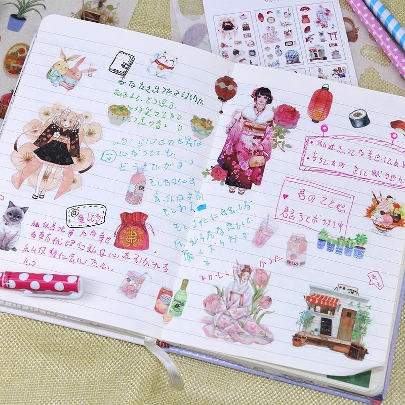 6 pieces Japanese cuisine Cherry blossom Kimono girl Sticker washi paper Sticker/ DIY decoration handbook sticker