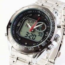 Fashion Solar Men s Sport Watches Full Stainless Steel Waterproof Dual Time Analog Quartz Digital LED