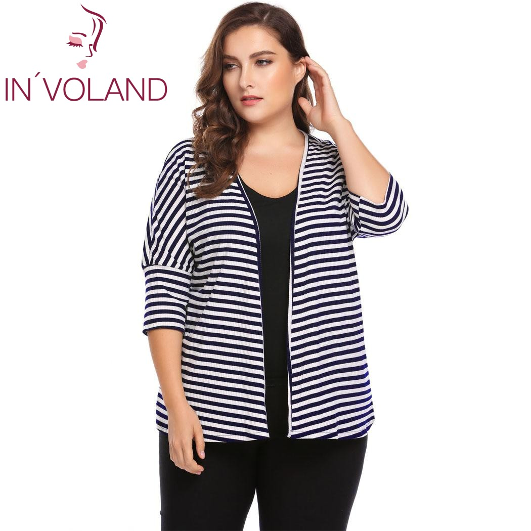 INVOLAND Plus Size L-4XL Women Sweater Top Autumn 3/4 Batwing Sleeve Striped Open Front Ribbed Cardigan Large Coat Big Size