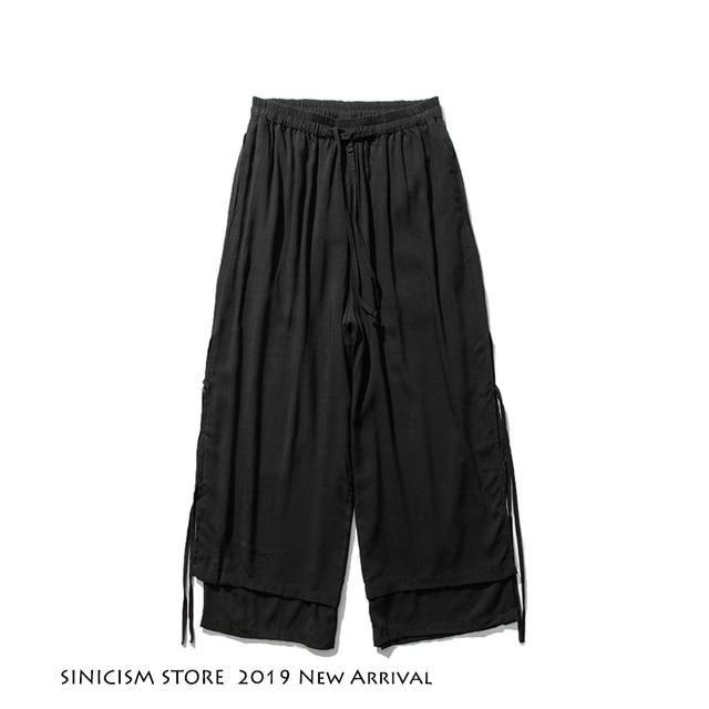 Sinicism Store 2020 Men Wide Leg Pants Summer Streewear Cotton Linen Loose Male Hanfu Chinese Style Mens Full Length Pants 3XL 36
