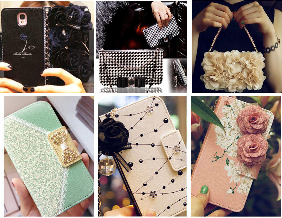 XINGDUO Luxury Leather Card Slot Wallet Chain Case Flowers Bling Magnetic Handbag Cover for iphone 6S Plus 6Plus 6 6S 5 5S SE