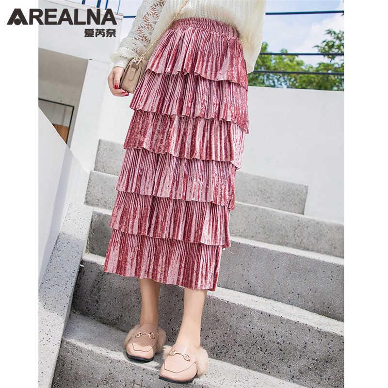 995c85a19 ... Autumn Winter Long Velvet Ruffle Skirt Women 2018 Korean Fashion Pink  Black Layered Cake Skirts Womens ...
