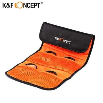 K & F concepto lente filtro cartera funda de piel 6 bolsillos Cámara filtro bolsa para UV polarizador ND 49mm 52mm 55mm 58mm 62mm 67mm 77mm