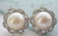 ry00340 New Style A+11MM white ROUND PEARL mount 925SILVER Earring (A0425)