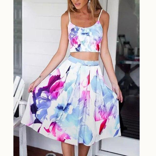 Correa 2016 correa de verano Tops faldas conjuntos mujeres correa de espagueti camisa falda plisada Sweet Girls Tops playa de la falda Saias BM-C2028