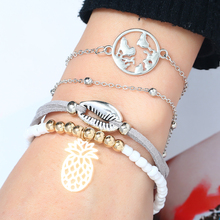 2019 Fashion Femme Silver Color Grey chain Stone Bracelet Set For Women shell bead Gold Pineapple Adjustable Bangles 4pcs/set