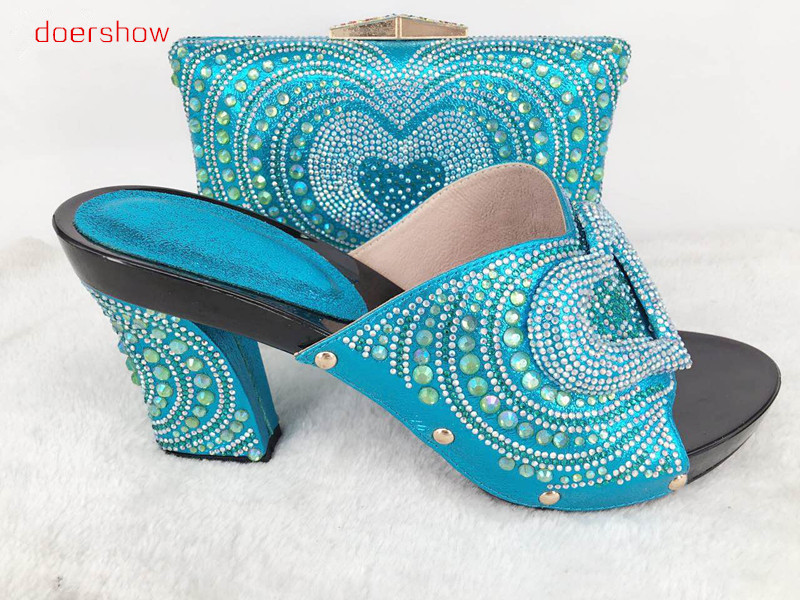 doershow Shoesand Bag Set Italian Shoe with Matching Bag Set for party African Women Matching Italian Shoes and Bag Sets!Hlu1-57 african wedding shoes and bag sets women pumps decorated with diamonds italian matching shoe and bag mm1014