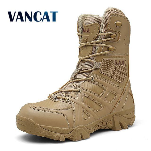 Vancat Erkekler Yüksek Kalite Marka Askeri Deri Çizmeler Özel Kuvvet Taktik Çöl Savaş erkek Botları Açık Ayakkabı yarım çizmeler