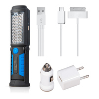 USB Rechargeable Lamp 36 5 LED Flashlight Outdoor Work Lights Magnet HOOK Mobile Power For Phone