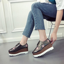 COOTELILI Spring Women Sneakers Flat Platform Casual Wedges Shoes Woman Patent Leather Lace-Up Creepers Stars Ladies Oxfords