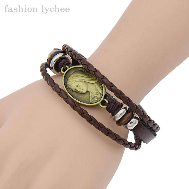 fashion lychee Punk Artificial Leather Weave Bracelet Mary Lizard Elephant Women Men Retro Wrist Bangle Jewelry Gift