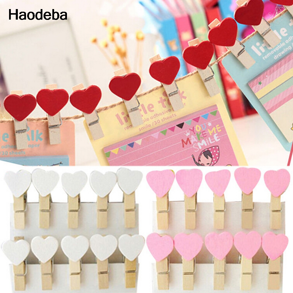 Haodeba 20Pcs Colored Mini Love Heart Wooden Clothespin Office ...