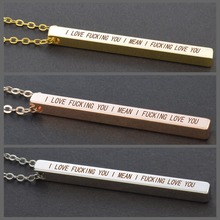 Romantic Couples Necklace I Love You Funny Quote Vertical Bar Engraved Girlfriend Boyfriend Gifts