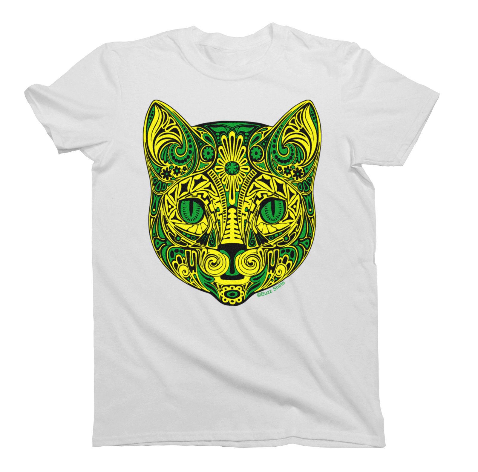Tribal Flower CAT T-Shirt Mens Animal Pet Cats TATTOO ART Gift Tee Shirt