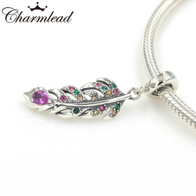 cee945b57 Peacock Feather Color CZ Charm Pendant 925 Sterling Silver Charms Fits  Pandora Bracelet DIY Women Jewelry