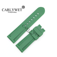 CARLYWET 24mm Green Waterproof Silicone Rubber Replacement Wrist Watch Band Strap Belt Without buckle For Luminor цена в Москве и Питере