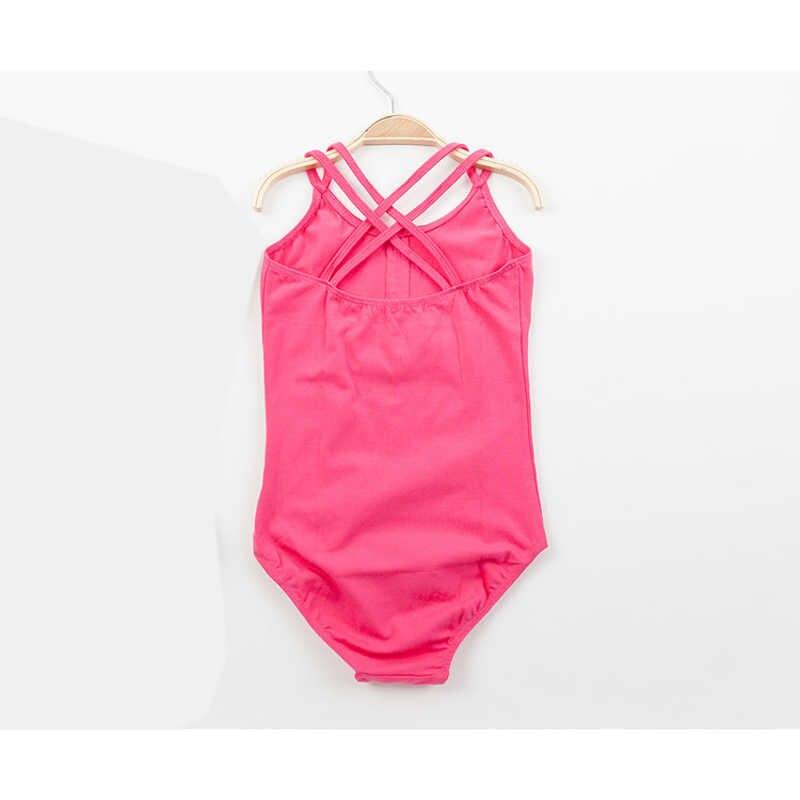 Балетные и гимнастические трико с двойным ремешком для девочек, балетные Боди для танцев без рукавов, розовые, черные, розовые, розовые, голубые
