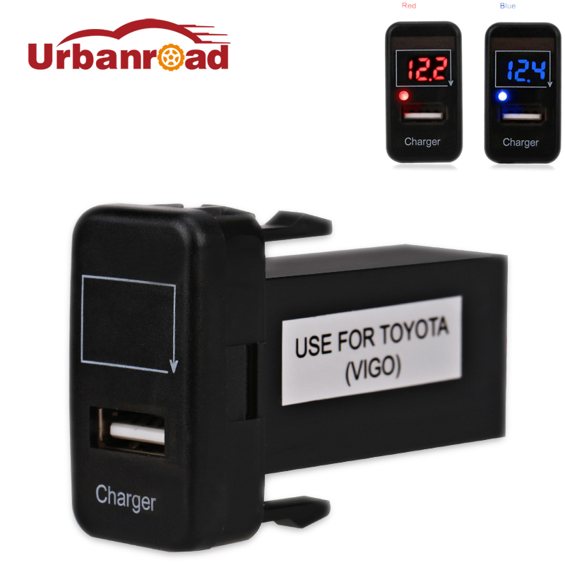 For Toyota Charger Voltmeter USB Adapter Interface Socket Port Voltmeter Auto 12v USB Car Socket Charge Power For Toyota VIGO цены онлайн