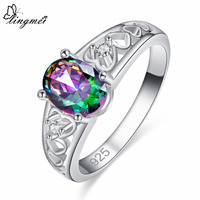 lingmei New Comes Oval Cut Heart Style Multi-color Cubic Zirconia Silver Color Ring Size 6 7 8 9 Women Wedding Jewelry Party