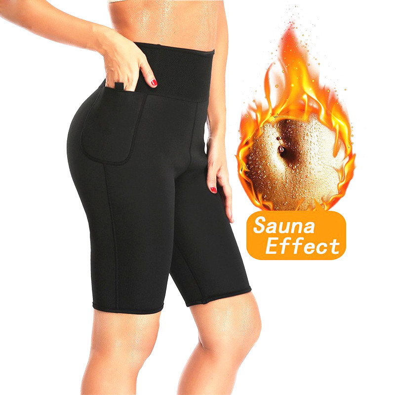 NINGMI Slimming Sauna Pant Hot Thermo Neoprene Sweat Capris Fat Burner Shapewear Fitness Body Shaper Control