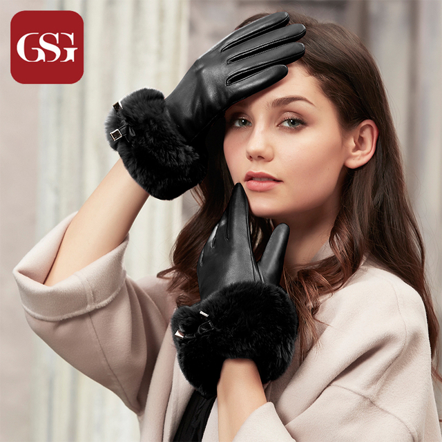 f8818e4d2beeb GSG Winter Warm Knitted Lined Genuine Leather Gloves for Women Fashion Fur  Ladies Touchscreen Driving Gloves Party Black