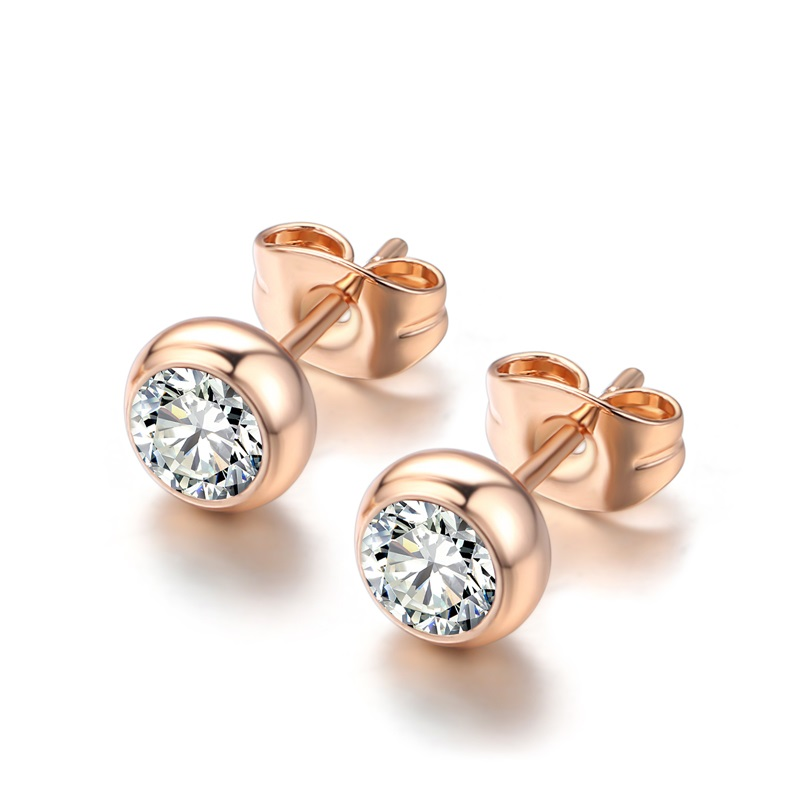 TracysWing Simple Copper Crystal OL Fashion Trendy Stud Earrings for women&Men Rose Gold Color Wholesale #20344r-white