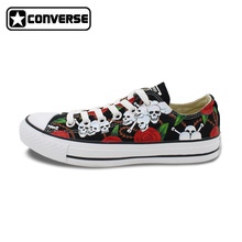 Low Sneakers Women Men Converse Chuck Taylor Skateboarding Shoes Skulls Roses Hand Painted Shoes Man Woman Best Birthday Gifts