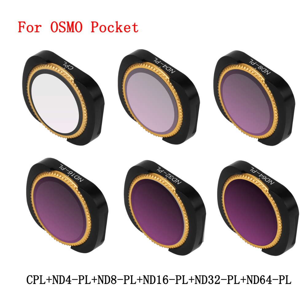 6Pcs Aluminum Alloy Magnetic Adsorption No Damage CPL ND4 8 16 32 64-PL Lens Filter Set  For DJI OSMO Pocket Camera Stabilizer