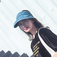SMTZZJ 2018 Blue Denim Empty Top Visor Sun Hats For Girls Women Foldable Cap  Snapback Beach 4f8770674f97