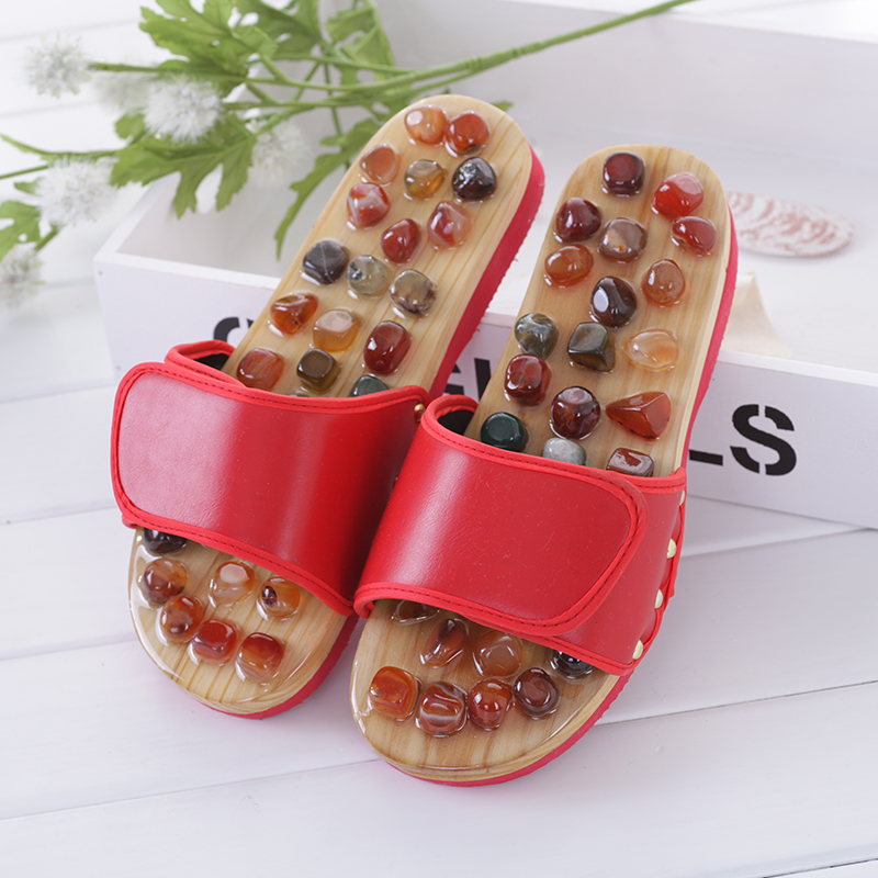 Agate Stone Foot Massage Slippers Reflexology Health Acupuncture Health Shoes Slipper Healthy Massager Pebble Feet Elderly Care singing god s words
