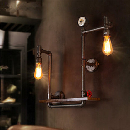 Creative Iron Water Pipe Loft Wall Lamp Wood Bedside Light Fixtures For Home Lightings Wall Sconces Bar Cafe Indoor Lighting nordic vintage loft style wall lamp glass wood rocker bedside light fixtures for alise bar cafe indoor home lighting luminaire
