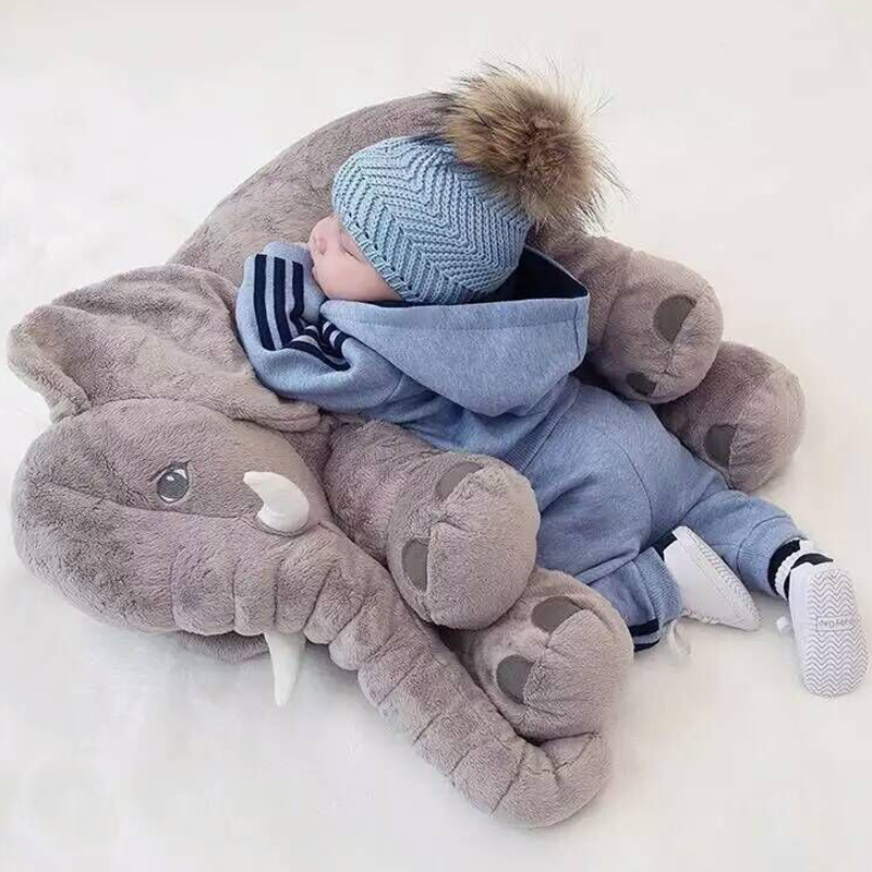 baby elephant plush stuffed toy soft children 39 s elephant pillow baby photograph toys kids bed. Black Bedroom Furniture Sets. Home Design Ideas