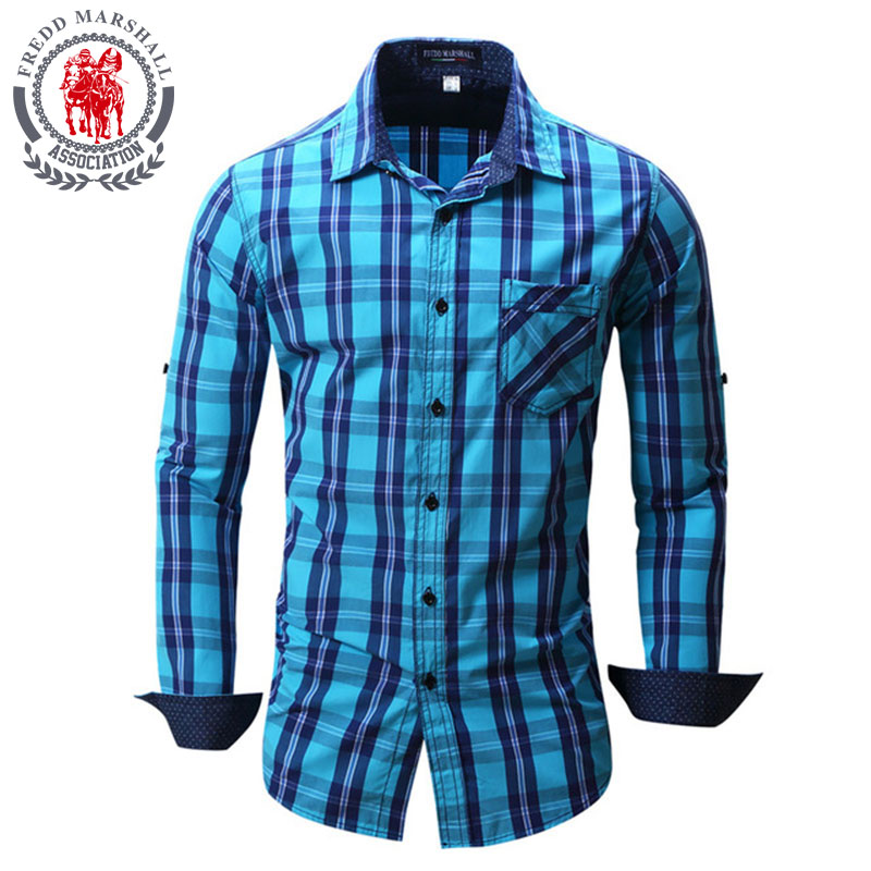 Fredd Marshall New Brand Men's Shirts Men Fashion Cotton Plaid Full Sleeve Casual Shirt Tuxedo Chemise Homme Camisa Masculina