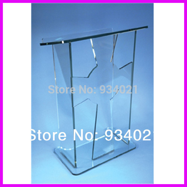 Acrylic Lectern Podium Pulpit Rostrum / Acrylic Speaker Stand Clean And Transparent