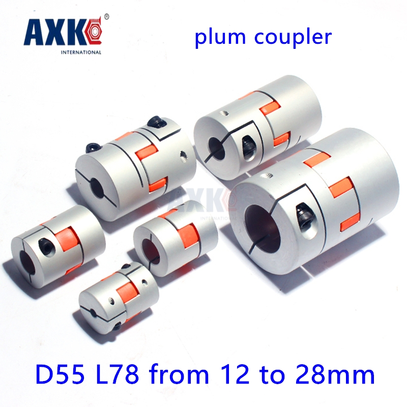 2017 Real Ball Bearing Axk Diameter 55mm Length 78mm Plum Clamp Coupler D55 L78 Shaft Size From 12mm To 28mm Cnc Jaw Coupling cnc plum shaft flexible jaw spider coupler 12mm 14mm motor coupling 12mm to 14mm dia 30mm length 35mm