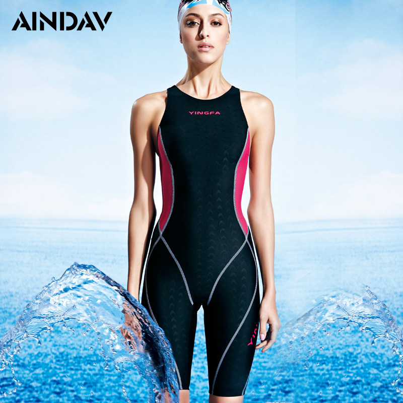 2018 Athlete Endurance One Piece Swimsuit Girl Shark Skin Like Swimwear Women Professional Racing Fifth Pant Sport Bathing Suit competition racing one piece swimsuit