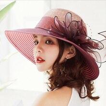 Однотонные женские шляпы от солнца с широкими птицами, Панама, пляжная шляпа, летние шапки для девушек, женские шапки с цветами