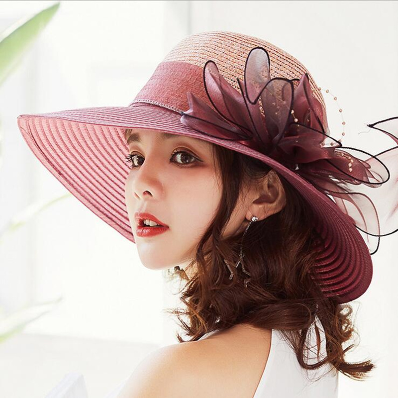 Solid Color Sun Hats For Women Wide Birm Panama Beach Hat Summer Girls Bucket Caps Women's Flowers Bone Chapeu Feminino