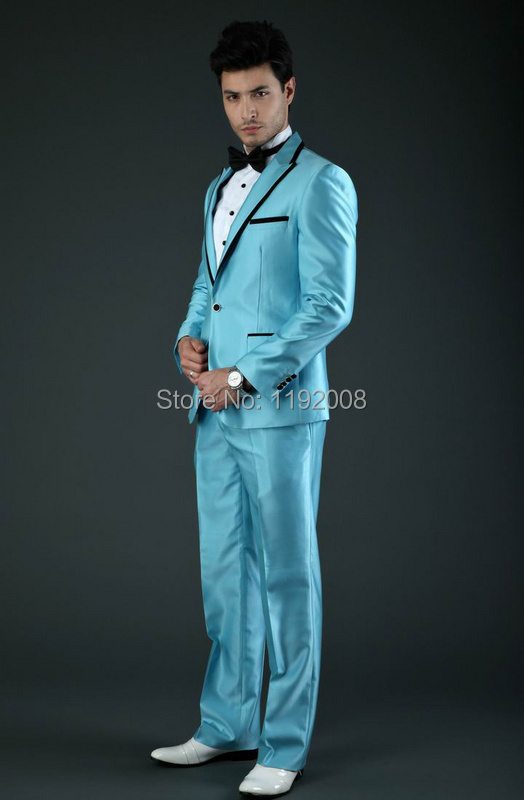 Online Shop Light Blue Wedding Suit for men Prom 2014 Custom Made