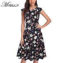 цена на MISSJOY Women's Vintage Floral Ruffled Sleeve Knee Length Cocktail Swing Party Dresses Винтажное платье