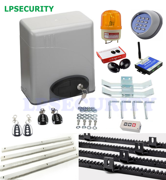 LPSECURITY 1400lbs 600kg Electric automatic gate door motor operator with keypad, lamp, photocell,4m/5m nylon rack(GSM optional)