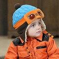 2016 Nova Retail Criança Chapéus De Pele De Inverno Crianças Piloto Chapéu/Caps meninos vôo tampas crianças Warmer gorro earflap