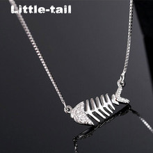 2017 New Listing girlfriends birthday S925 simple silver chain clavicle classic fish bone silver necklace Micro Pave CZ