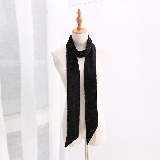 Black Velvet Narrow Scarf | Neck Scarves | Up to 60% Off Now
