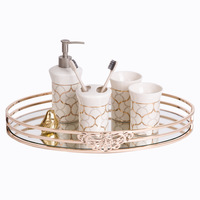 New Metal Mirror Tray Oval European Model Room Coffee Table Tray Bathroom Cosmetics Storage Tray Decoration