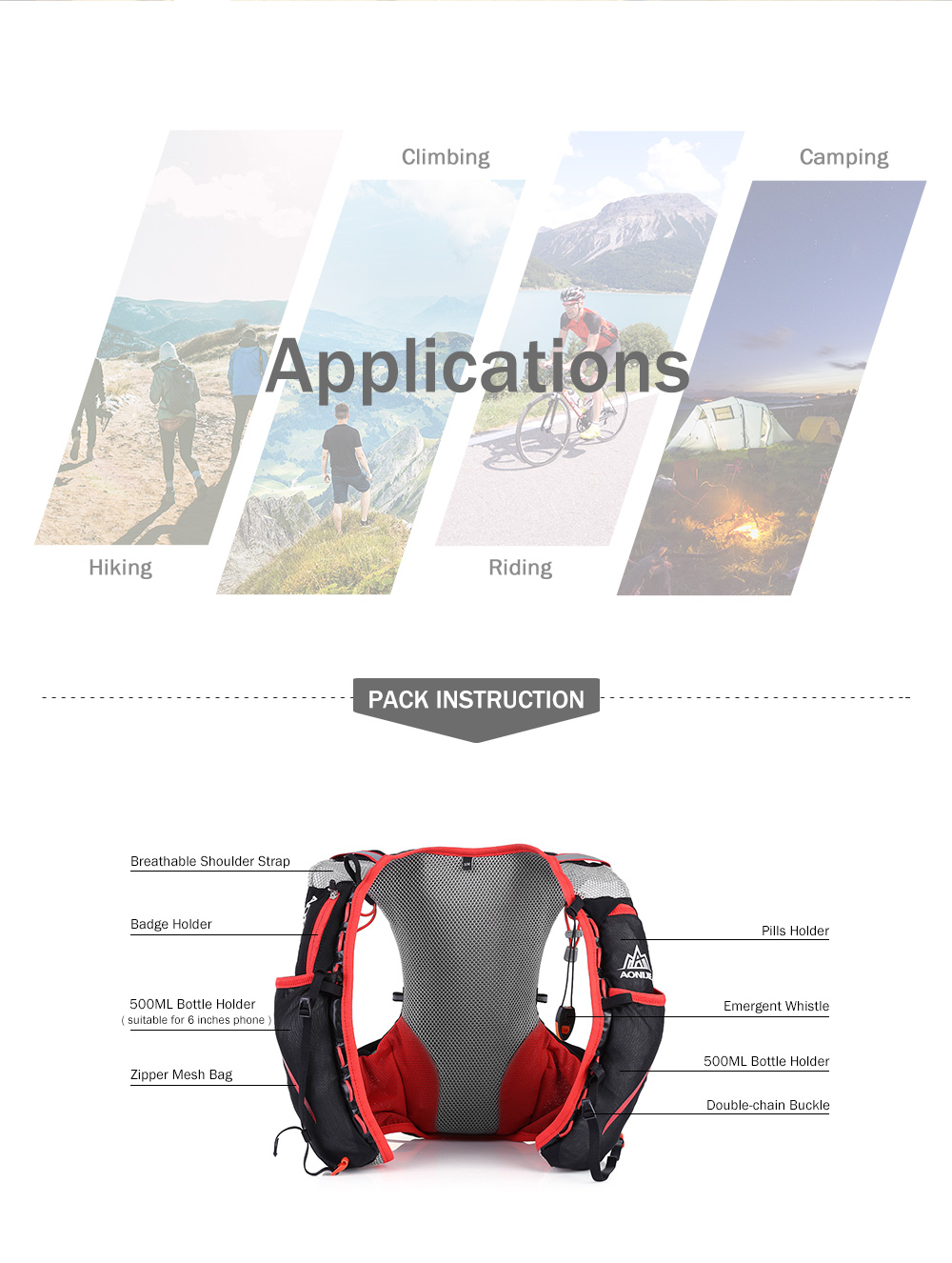 Foto of applications breathable hydration vest pack for cycling. Outdoor hydration rucksack 1.5L for men