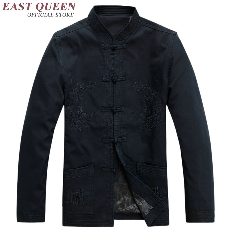 Dragon chinois imprimé coton tissu style chinois hommes chemise chinois traditionnel hommes vêtements dragon bomber veste AA1572z