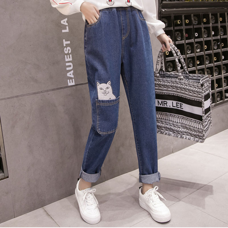 Jeans Harem Pants Female 2018 Japanese Autumn New Female Cat Embroidery Harajuku Casual Cross Pants Big Size Trousers 5XL
