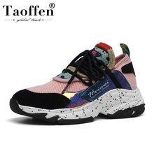 Taoffen Ins Hot Trend Basket Femme Sneakers Genuine Leather Women